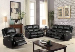3 PIECE BLACK BONDED LEATHER WHITE STITCH SOFA LOVE SEAT ARM CHAIR RECLINER SET / SILLONES RECLINABLES for Sale in Los Angeles, CA