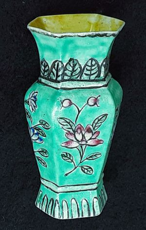 "Antique miniature chinese porcelain hand painted vase w yellow interior 3.5"" H for Sale in Saginaw, MI"