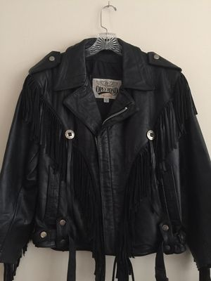 Open Road leather fringed motorcycle jacket black size 38 for Sale in Orland Park, IL