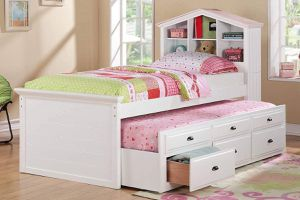 WHITE TWIN SIZE BED + TRUNDLE + DOLLHOUSE BOOKCASE HEADBOARD + STORAGE DRAWERS for Sale in Los Angeles, CA