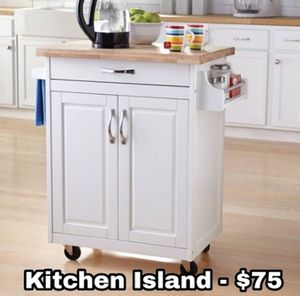 Kitchen island with wheels and storage for Sale in Dallas, TX