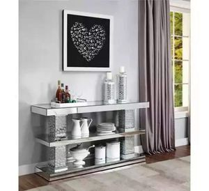 """GLAM CONSOLE TABLE WITH FAUX CRYSTAL ACCENTS (1 showroom/1 in box) $1099.00 p3 Width (side to side): 63"""" W Depth (front to back): 17"""" D Height (botto for Sale in Houston, TX"""