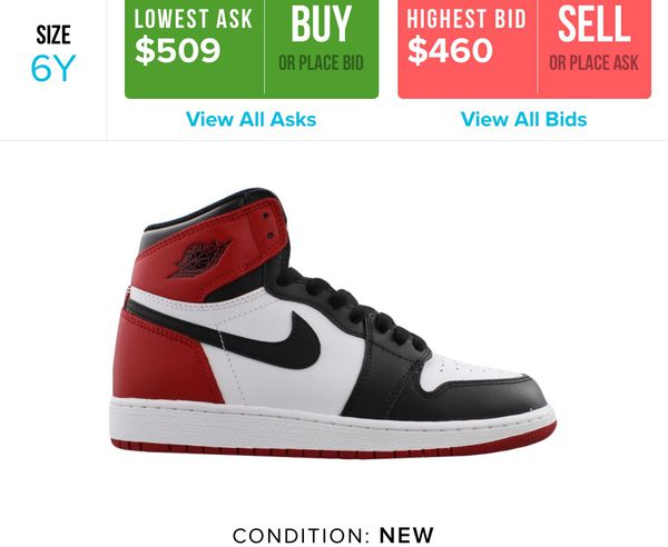 newest collection 9a7c4 49a62 NIKE AIR JORDAN 1 BLACK TOE Sz 6Y for Sale in Chicago, IL - OfferUp