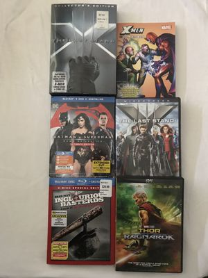 DVD Movies:X-Men 3+Comic Book,Thor 3 & Blu Ray 3 Disc Sets:Batman Vs Superman,Inglorious Basterds Discs Like New $5 Each for Sale in Reedley, CA