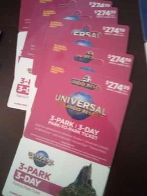 Universal tickets $100 each for Sale in Lakeland, FL