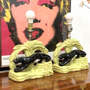 80.00 For The Pair Mid Century Modern Art Deco ceramic pottery Black Panther Cougar TV Table Lamps Vintage Retro 1940's 1950's for Sale in Pinellas Park, FL