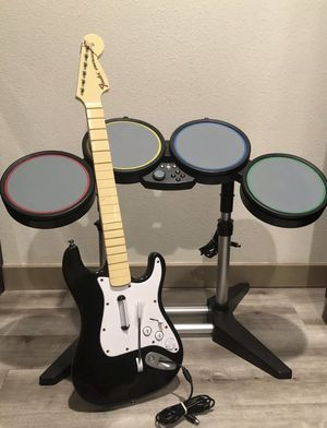 Xbox 360 Rock Band Drum Set And Guitar for Sale in Pasco, WA