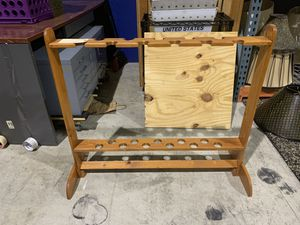 Wood Fishing Rod Pole Rack for 11 Rods Poles for Sale in West Palm Beach, FL