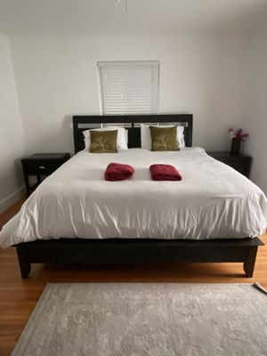 King bedroom set - Frame, nightstands, dresser. Mattress & box spring optional for Sale in Miami, FL