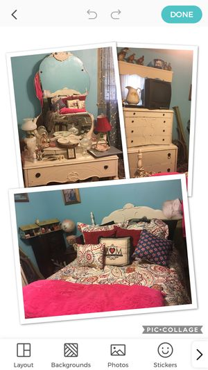 Antique beautiful bedroom suite with dresser, chest and bed and a bedside table as well in good condition. for Sale in Spartanburg, SC