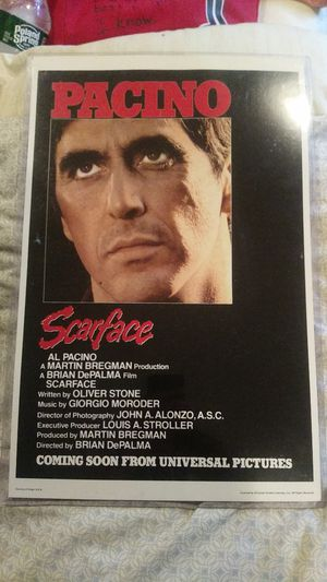 Scarface poster in hard plastic for Sale in New York, NY