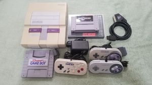 SNES + SD2SNES flash cart, 2 controls, Super Gameboy + controller, SCART RGB cable for Sale in Berkeley, CA