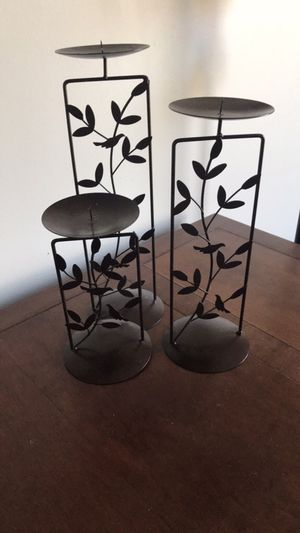 Set of 3 Brown Candle Holders for Sale in Blacklick, OH