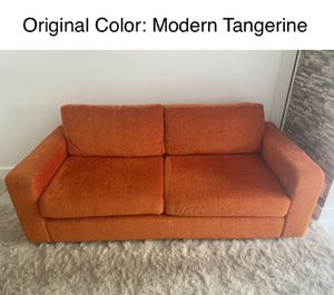 Contemporary Sofa originally orange, with Gray & Beige Covers Included. Very Comfortable and Great Condition! for Sale in Oakland Park, FL