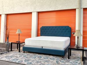 Beautiful king size royal blue button tufted bed frame mattress box spring two nightstands all included 390$💤😴 for Sale in Tempe, AZ