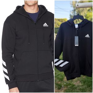 Men's Adidas hoodie zip sweater large black for Sale in Santa Fe Springs, CA