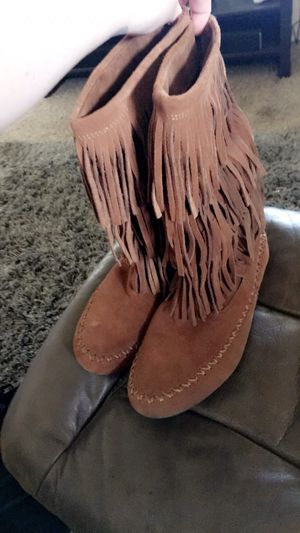 Brown fringe boots for Sale in Bakersfield, CA