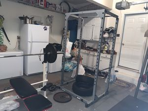 Bench and squat cage with pull up bar and olympic bar for Sale in Ashburn, VA