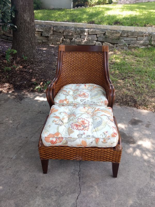 Pier 1 Temani Brown Wicker Chair And Ottoman For Sale In