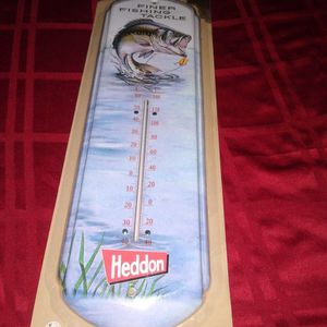 Nostalgic Tin Thermometer Finer Fishing Tackle Heddon for Sale in Spring Grove, IL
