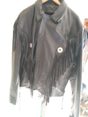 Leather gallery fringed jacket for Sale in Greensboro, NC