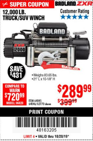 12,000 lb. Badland Winch for Sale in Fontana, CA