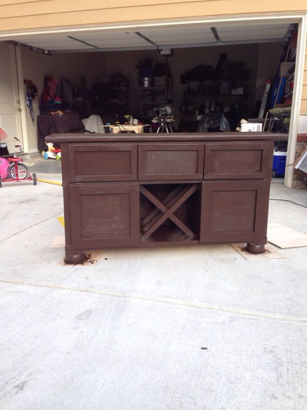 Console table with wine storage and 3 drawers