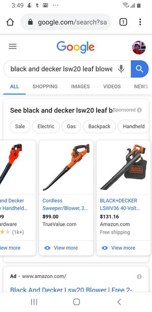 Black and Decker leaf blower and battery. as is for Sale in Los Angeles, CA