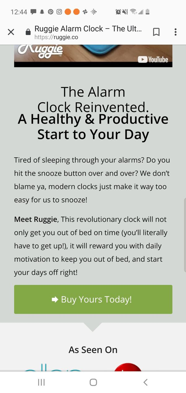 Ruggie alarm clock mat