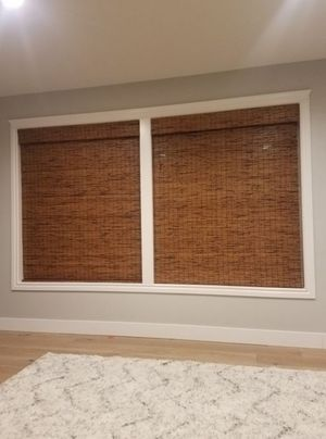 2 Custom waterfall woven wood shades, like new blinds actual size 57.5x76 for Sale in Renton, WA