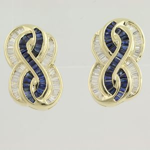 14k gold sapphire diamond earrings for Sale in Queens, NY