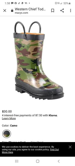 Camo rain boots for kids size 6 for Sale in Lubbock, TX