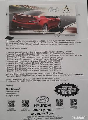 Hyundai Authorized Service and Checks Program 4 HUGE SAVINGS!!! for Sale in Rancho Santa Margarita, CA