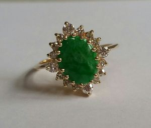 14k Yellow Gold Jade and Diamond Ring for Sale, used for sale  Branchburg, NJ