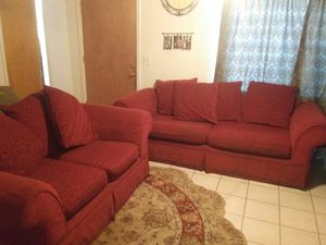 Cheery Red Loveseat & Couch for Sale in Visalia, CA