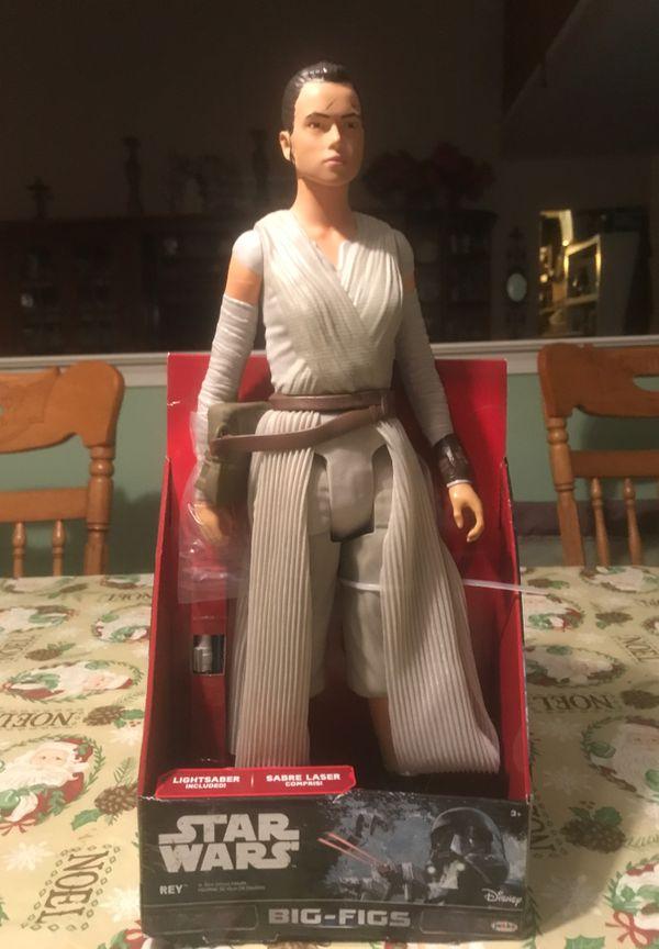 "JAKK'S Star Wars Big - Figs Rey Lightsaber The Force Awakens 18"" Action New"