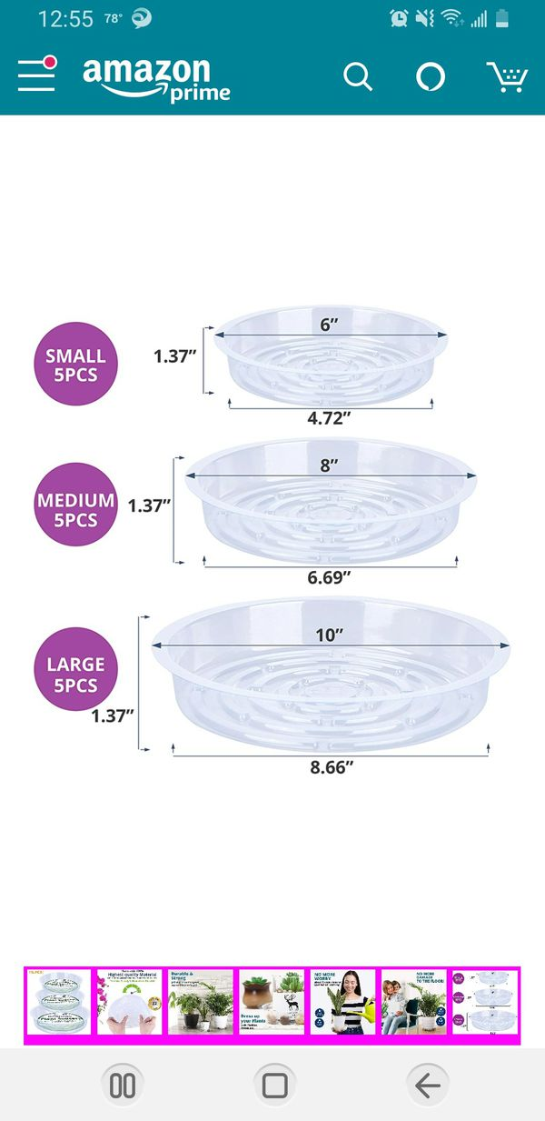 Konanzo Plant Saucer 15 Pack of Clear Plastic Saucers Drip Trays in Assorted Sizes (6 inch/8inch/10inch) Flower Pot Tray for Indoors & Outdoor Plants