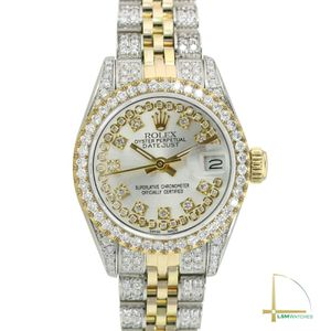 Rolex Lady Datejust Two-Tone Silver Fully Loaded High Quality Genuine Diamonds for Sale in Los Angeles, CA