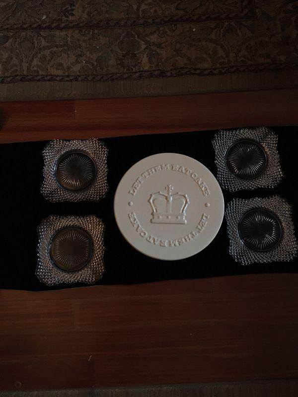 Mason Cash English Cake plate & 4 Vintage Ol English Hobnail Plates