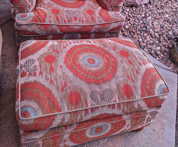 Custom Upholstery Down Wrapped Chair & Ottoman $135