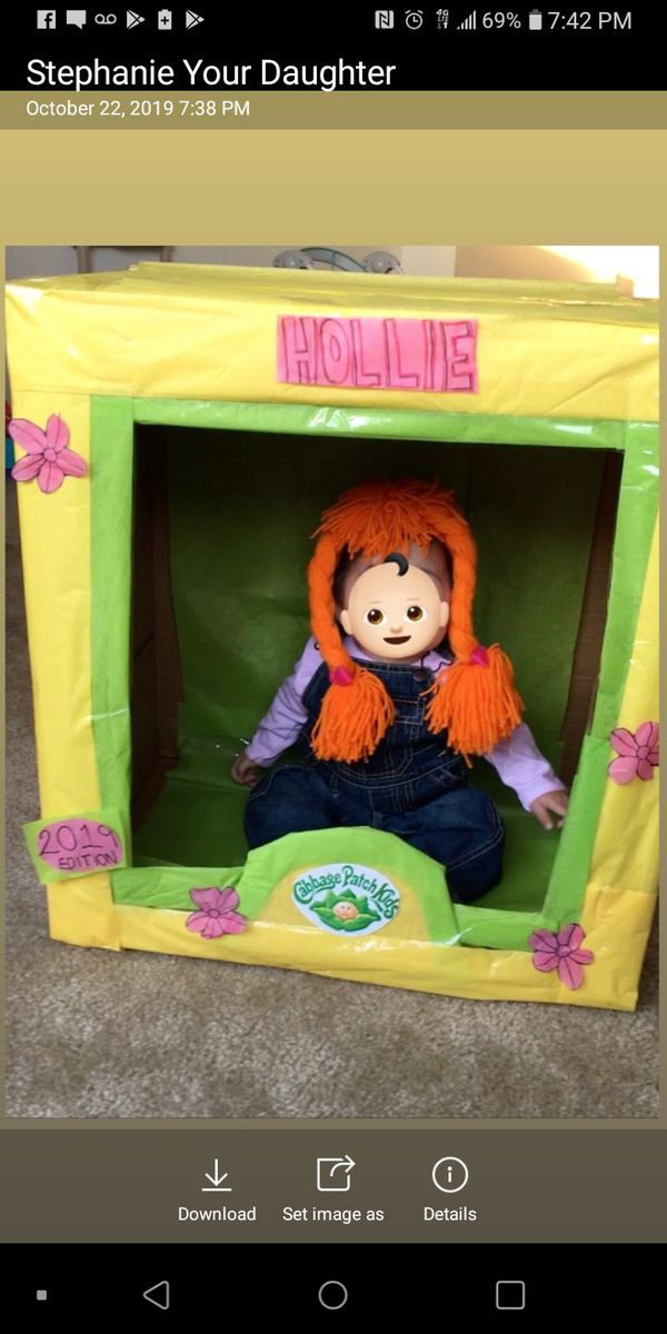 If you're making your baby and Cabbage Patch doll For Halloween costume I'm selling the Box that I used for a photoshoot make me an offer