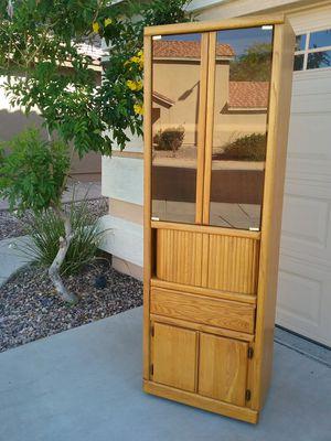 Rolling Lighted Oak storage unit shelf shelves curio cabinet for Sale in Buckeye, AZ