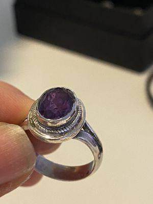 Sterling silver ring with real Amethyst crystal for Sale in Los Angeles, CA