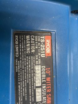 """RYOBI 10"""" USED Miter Saw TS-251U Double Insulated for Sale in Roanoke,  IL"""