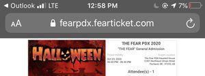 Fear Pdx ticket for Sale in Portland, OR