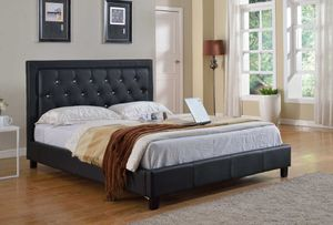 Brand New Black Faux Leather Platform Bedframe for Sale in Arcadia, CA