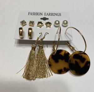 Earring Pack Jewelry Tortoiseshell Gold Tassel Pearl Star Diamond for Sale in Mentor, OH