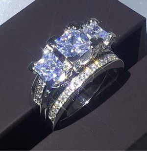 Shop Luxury White Sapphire Love Wedding Ring Set 925 Silver Engagement Sz (7) for Sale in Mechanicsburg, PA