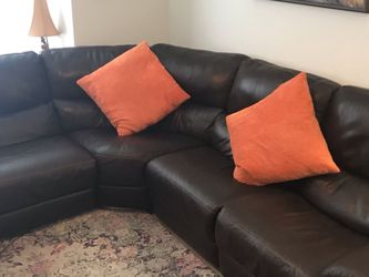 5 Piece Sectional Leather Sofa Dark Chocolate Brown for Sale in Miami,  FL