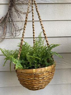 Boho Garden MCM Bamboo Wicker Flower Plant Hanging Basket Farmhouse Bohemian Cottage for Sale in Walterville,  OR